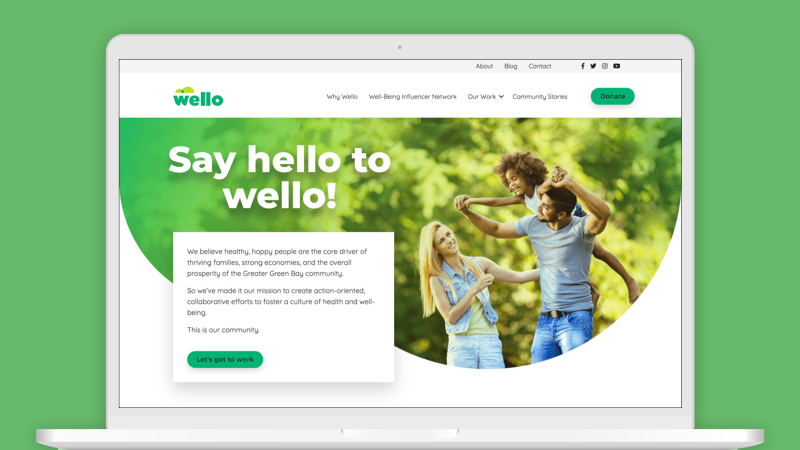 Wello website on laptop